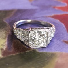 Art Deco 1930's 1.50ctw Old European Cut Diamond Engagement Ring Platinum by YourJewelryFinder on Etsy https://www.etsy.com/listing/199688254/art-deco-1930s-150ctw-old-european-cut