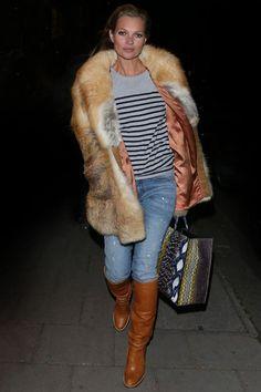 Kate Moss fur and sailor shirt