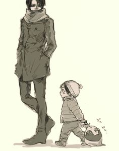 Lol look at the doll Eren is dragging haha   Levi and little Eren   SNK