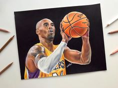 Colored Pencil drawing of Kobe Bryant using Caran D'Ache and FaberCastell Polychromos colored pencils on Strathmore 500 Bristol. Faber Castell Polychromos, Caran D'ache, Black Mamba, Realism Art, Kobe Bryant, Traditional Art, Drawing S, Black Backgrounds, Insta Art
