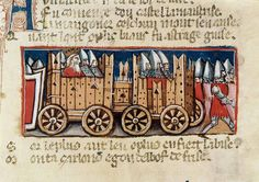 Origins of public transportation: Charlemagne entering Spanish soil in a chariot. Illuminated manuscript; 13th century.  Libreria Marciana, Venice, Italy