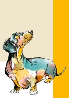 Dachshund Art - Dachshund Print - Dachshund Gift - Dachshund Lover - Dog Lover Gift - Dachshund Decor - Dachshund Art - Sausage Dog Art by AmySpittleArt on Etsy