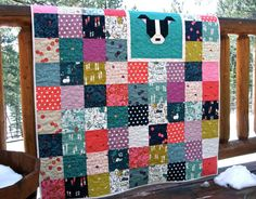 Quilt Baby Toddler Children Cat Lady Cotton and Steel Scrappy Patchwork Colorful Nursery Bedding Pit Bull Dog Cats Coral Navy Teal Aqua