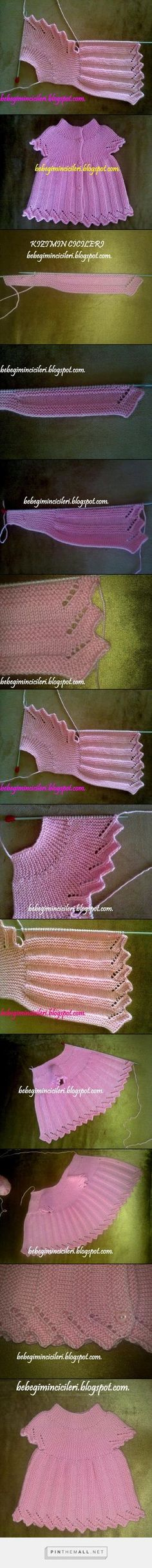Short rows sideways baby vest, round yoke; step by step. Turkish Original. *General* notes: Cast on 75 st & divide into 3 wedge sections: collar (10 st; longest & fewest rows), yoke (20 st), body (45 st; shortest rows); 2::4::8. ~~ Alt. garter & stockinette stripes; YO inc at end of row, bind off 5 on 10th row, forming sawtooth lace. ~~ Work only collar & yoke sections to form armhole, work body separately, once armhole is finished join again for back ~~ KIZIMIN CICILERI: HEDIYELIK PEMBIS…