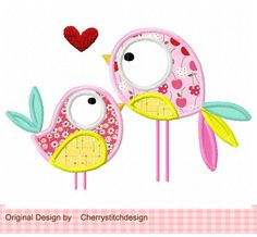A couple birds Applique -5x7 6x10-Machine Embroidery Applique Design by CherryStitchDesign on Etsy https://www.etsy.com/listing/119973366/a-couple-birds-applique-5x7-6x10-machine