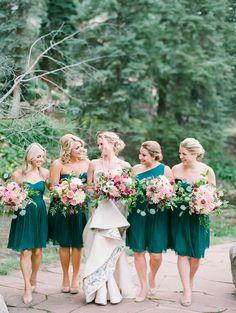 8b4b75d6034 Colorado Wedding at the Four Seasons in Vail. Green BridesmaidsForest Green  Bridesmaid DressesJewel ...