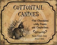 Primitive Easter Peter Cottontail Candies by HoneyBeePrintables, $3.00