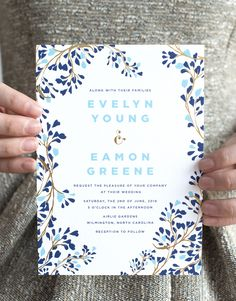 blue and gold foil vine wedding invitations by hello tenfold | photo by lissa gotwals