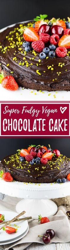 This vegan chocolate cake with extra chocolate frosting is THE BOMB!! The best thing is it's so incredibly easy and you don't need any fancy ingredients! <3 | veganheaven.org