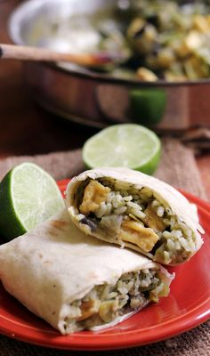 Crispy baked tofu, tender eggplant, and snow peas simmered in a spicy green curry sauce team up with cilantro rice to make these delicious vegan Thai green curry burritos.