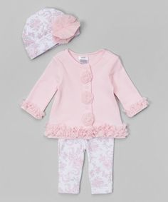 Another great find on #zulily! Light Pink & White Tulle Ruffle Cardigan Set #zulilyfinds