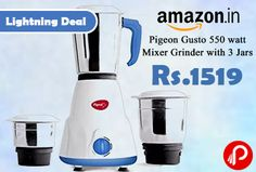 Amazon #LightningDeal is offering 49% off on Pigeon Gusto 550 watt Mixer Grinder with 3 Jars at Rs.1519 Only. Handle designed for better grip, Powerful motor, High grade stainless steel blades, 1 year on product Warranty.  http://www.paisebachaoindia.com/pigeon-gusto-550-watt-mixer-grinder-with-3-jars-at-rs-1519-only-amazon/