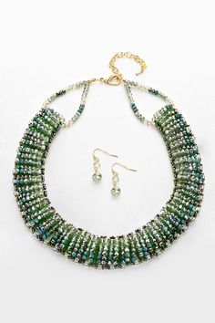 Crystal Lamire Necklace in Teal Vitrail on Emma Stine Limited