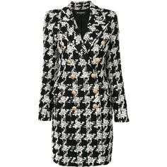 Balmain Pied De Poule Double Breasted Coat ($4,370) ❤ liked on Polyvore featuring outerwear, coats, black, tweed wool coat, print coat, mid length coat, long sleeve coat and patterned coat