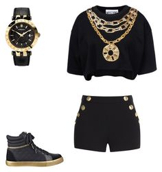 """Gold digger"" by officainstacute on Polyvore featuring Boutique Moschino, Moschino, Versace, GUESS, women's clothing, women's fashion, women, female, woman and misses"