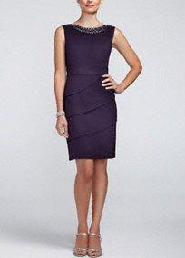 Sleeveless Twill Dress with Beaded Neckline