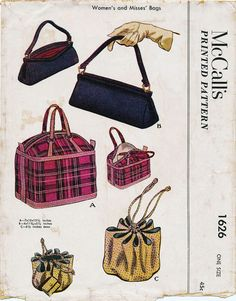 Vintage Sewing - McCall's 1626 Bags One Size Complete except for View B end lining, easily duplicated Copyright 1951 Vintage Purses, Vintage Bags, Vintage Handbags, Vintage Shoes, Vintage Dresses, Mccalls Sewing Patterns, Vintage Sewing Patterns, Fashion Bags, Fashion Accessories