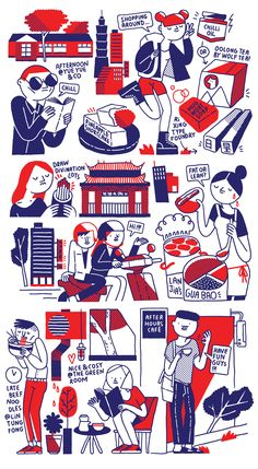City Guide —Taipei (illustrations) on Behance Fashion Illustration Sketches, People Illustration, Character Illustration, Graphic Design Illustration, Illustration Art, Sketch Notes, Drawing Skills, Graphic Design Inspiration, Character Design