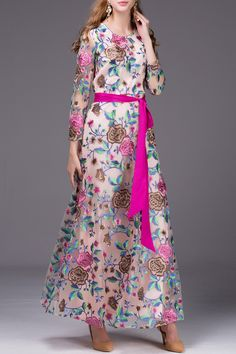 BY MEGYN Belted Floral Embroidered Dress