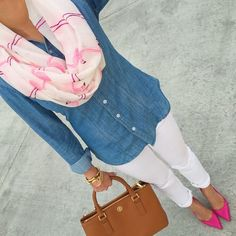 A blue denim shirt and white skinny jeans will showcase your sartorial self. Add deep pink suede pumps to your look for an instant style upgrade.   Shop this look on Lookastic: https://lookastic.com/women/looks/denim-shirt-skinny-jeans-pumps/17129   — White and Pink Print Scarf  — Blue Denim Shirt  — Gold Watch  — White Skinny Jeans  — Tan Leather Tote Bag  — Hot Pink Suede Pumps
