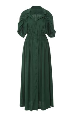 By Any Other Name Gathered Linen-Blend Maxi Dress Modest Dresses, Plus Size Dresses, Casual Dresses, Women's Fashion Dresses, Dress Outfits, Dress Clothes For Women, Dress Sewing Patterns, Ladies Dress Design, Colorful Fashion