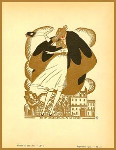 """Illustration In The September 1920 Issue of French Magazine Gazette du Bon Ton. Titled """"Squall"""". It Is Blowing Her Away."""