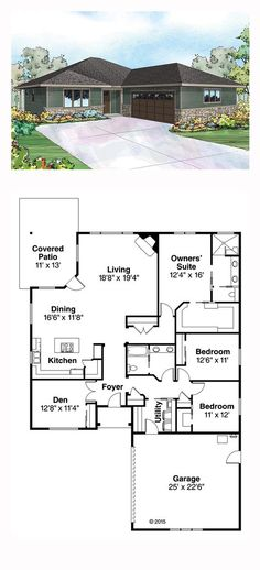 Style House Plan Number 60941 with 3 Bed, 2 Bath, 2 Car Garage Prairie House Plan 60941 Ranch House Plans, New House Plans, Dream House Plans, Small House Plans, House Floor Plans, My Dream Home, Dream Houses, Dog Houses, Building Plans
