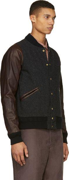 Visvim Black Tweed & Leather Barnstorm Bomber