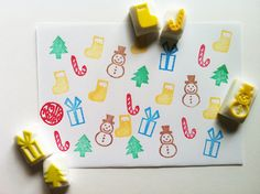 mini christmas decor stamps. hand carved rubber stamp. christmas tree. gift box. snow man. stocking. sugar stick. set of 5.  READY TO SHIP