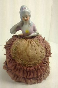Beautiful Bisque Or Porcelain Pin Cushion Doll