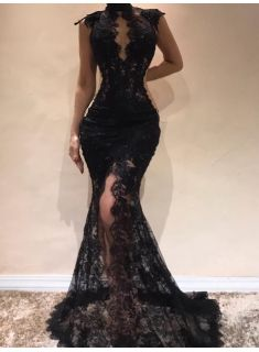a74e2fa404 Sexy Black Lace Mermaid Evening Dresses