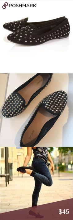 "Topshop Vectra Studded Smoking Loafer SZ 37/7 EUC Topshop Black and silver studded smoking loafer. Slip On. Size 37-7. Scattered studs across the soft no sultry finish of a ""gilded smoking slipper."" Textile upper. Textile and leather lining. Rubber sole. No signs of wear to STUDS-ALL IN TACT. Sticker on sole mentions that Topshop cannot insure studs stay in place so to be extra careful with them. MINOR wear to outer soles and heels. See photos. Clean interior MINOR of natural leather…"