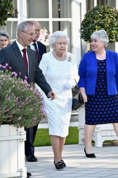 Queen Elizabeth II attends a reception at the British Embassy during an Official visit in Paris ahead of the 70th Anniversary Of The D-Day on June 5, 2014.