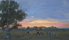 VINTAGE PAINTING OIL LANDSCAPE / ORIGINAL PAINITNG  TREES / SUNSET / NATURE  ONE OF A KIND  This beautiful vintage landscape is an original artwork by a Unknown Soviet artist. Painting was done in 1970s. TITLE: Sunset over the pasture MATERIALS: oil, board MEASURES: 25.5 cmH х 42.5 cmW ( 10.0 x 16.7 inch) CONDITION: good vintage condition.  The painting can be shipped worldwide.  Thanks for your visit to my shop.