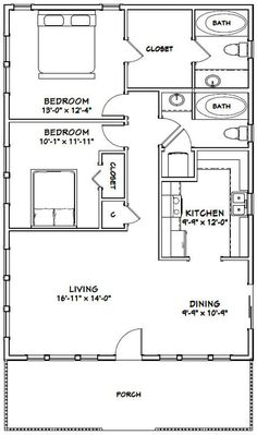 Tiny House Living, House 2, 1000 Sq Ft House, Small House Floor Plans, Tiny Cottage Floor Plans, Simple Floor Plans, 2 Bedroom House Plans, Cottage Plan, Cabin Plans