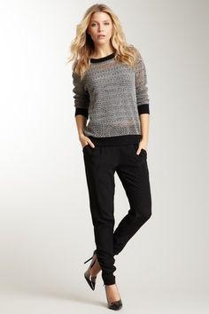 Winter Kate Black Silk Pants trousers, mesh crew neck sweater