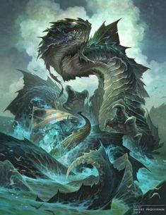 Sea Serpent by Dmitry Prosvirnin Fantasy Dragon, Dragon Art, Fantasy Art, Monster Concept Art, Monster Art, Mythical Creatures Art, Fantasy Creatures, Mystical Animals, Ocean Monsters