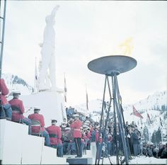 The Olympic Torch being lit for the 1960 Winter Games at Squaw Valley California Ski Resorts, Tahoe Ski Resorts, Youth Olympic Games, Olympic Flame, Modern Games, Alpine Meadow, Bring A Friend, Vintage Ski, Winter Games