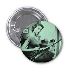 Vintage Sassy Secretary Fashion Gun Button (Green)