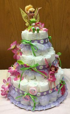 Tinkerbell Diaper Cake I made for My granddaughter's Baby Shower