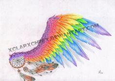 Rainbow Wing - bosquejo del tatuaje por xClarXCheex