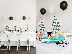 SweetLittlePeanut  |  love this classic cars birthday theme for a little boy. the classic car place settings that hold food are adorable!