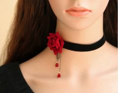 black and red flower crystal necklace jewelry acessorios colares bijuterias womens necklace fashion 2015 Gothic Chokers, Gothic Jewelry, Beaded Jewelry, Jewelry Necklaces, Black Velvet Choker Necklace, Crystal Necklace, Lace Necklace, Pendant Necklace, Fashion Necklace