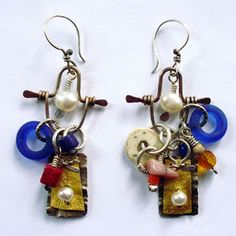 """Ken Bova: , Earrings in sterling silver, 23k gold leaf, African glass beads, pearls, ostrich shell, glass, coral, and mixed media on rag paper. 2.75"""" in length."""