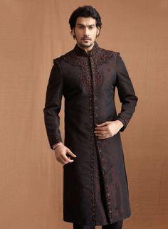 Black and Maroon Banaras Silk Jacquard and Art Dupion Silk Sherwani and Churidar