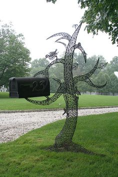 crazy awesome metal tree sculpture mailbox post