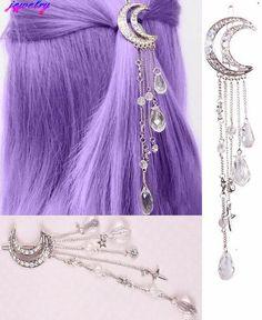 Mondkristall Quasten Haarspangen - Pinces à cheveux en cristal de bouche # cheveux You are in the rig - Cute Jewelry, Hair Jewelry, Jewelry Accessories, Fashion Accessories, Fashion Jewelry, Jewelry Design, Witch Jewelry, Tassel Jewelry, Moon Jewelry