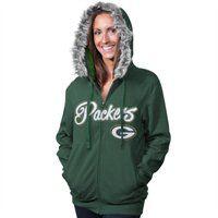 Green Bay Packers Ladies Brushed Fleece Full Zip Hoodie #fanatics