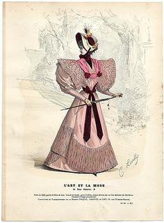 L'Art et la Mode 1894 N°39 Levilly, hand colored fashion plate