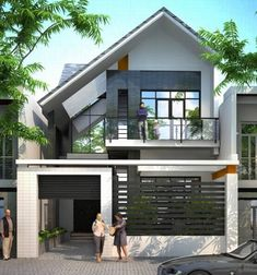 most popular modern dream house exterior design ideas 9 * remajacantik 2 Storey House Design, Bungalow House Design, House Front Design, Modern House Design, Architecture Design, Narrow House, Dream House Exterior, Modern House Plans, Modern Zen House